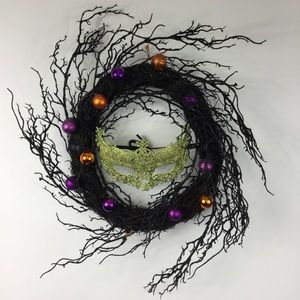 Halloween Wreath with Gold Masquerade Mask